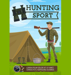 hunter with rifle and tent hunting sport vector image
