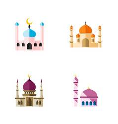 icon flat building set of mosque muslim vector image