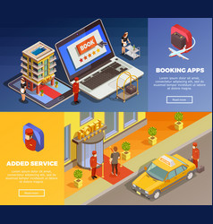 Isometric infographic booking banners vector