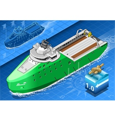 Isometric Ship Breaking the Ice in Navigation vector