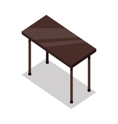 Isometric Wooden Table in Flat vector image