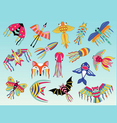 kites animals flying colored for happy kids vector image