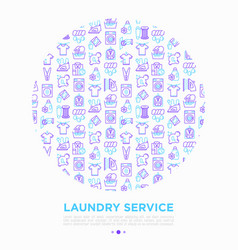 laundry service concept in circle with thin line vector image