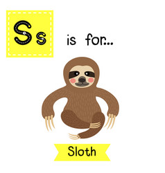 Letter s tracing sitting sloth vector