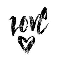 love - handwritten inscription with heart vector image