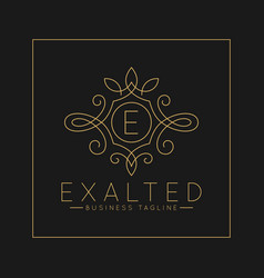 Luxurious letter e logo with classic line art vector