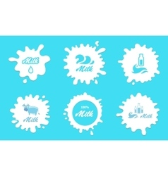 Milk splashes labels or logos elements vector image