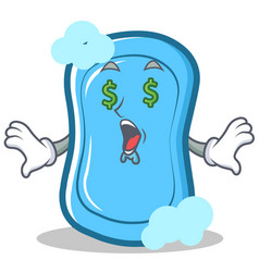 money eye blue soap character cartoon vector image