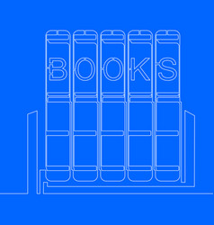 one line drawing object pile of books vector image