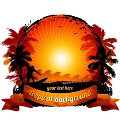 Orange sunset surfing beach vector