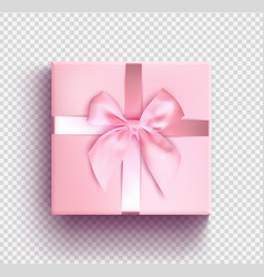 Pink gift box isolated object realistic 3d vector