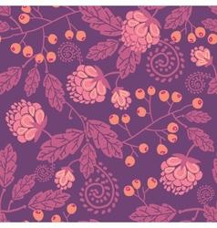 Purple flowers and berries seamless pattern vector