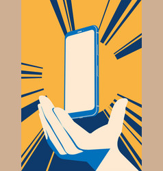 realistic flat modern smart phone with hand on vector image