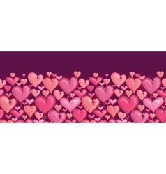 Red Valentines Day Hearts Horizontal Seamless vector image