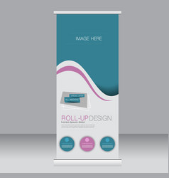 roll up banner stand template vector image