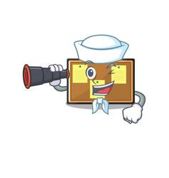 Sailor with binocular bulletin board isolated in vector