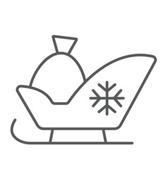 santa sleigh thin line icon sledge and winter vector image