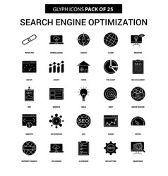 Search engine optimization glyph icon set vector