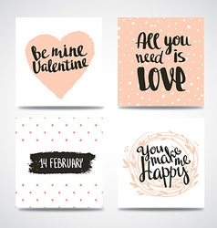 Set of trendy hipster Valentine Cards Hand drawn vector image