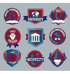 Set of university and college school badges vector
