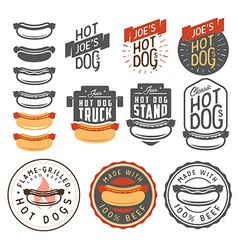 Set of vintage hot dog labels and design elements vector image