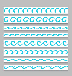 Set of wavy border ornaments vector