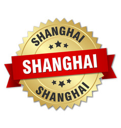 Shanghai round golden badge with red ribbon vector