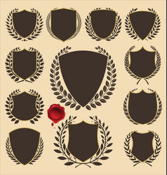 Shield and laurel wreath collection vector