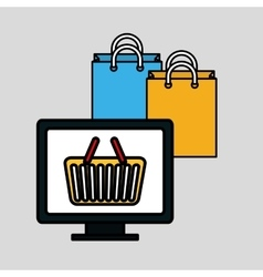 shopping and computer design vector image