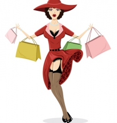 shopping pin up illustration vector image