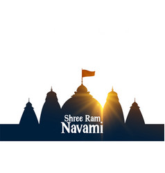 Shree ram navami wishes card with temple and sin vector