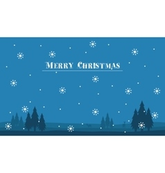 Silhouette of hill scenery Merry Christmas with vector image