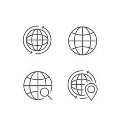 Simple set of globe outline icons vector