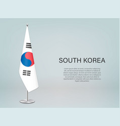 South korea hanging flag on stand template vector