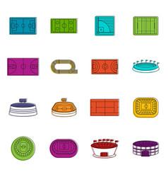 Sport stadium icons doodle set vector