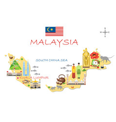 stylized map malaysia travel with malaysian vector image