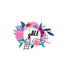 summer floral poster sale - a tiny character man vector image