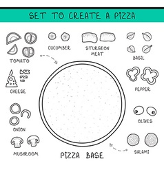 Template doodle set ingredient to build pizza vector image