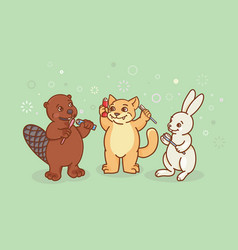 the beaver the cat and the hare are brushing vector image