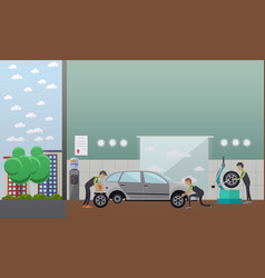tire change auto service concept vector image