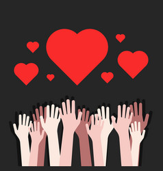 volunteers charity like multiracial hands up vector image