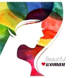 Watercolor beautiful girl vector image
