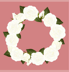 white rose wreath vector image