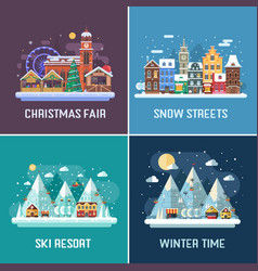 Winter Travel Landscapes vector