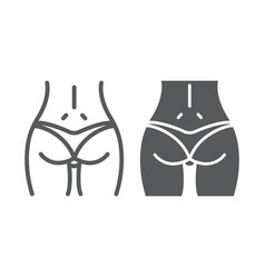 Woman ass line and glyph icon body and butt sexy vector