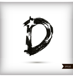 Calligraphic watercolor letter D vector image vector image