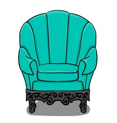 large armchair with turquoise upholstery and gray vector image