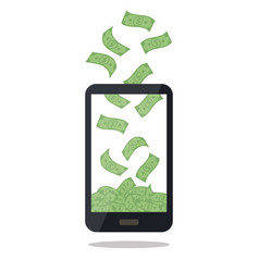 mobile telephone with money pile isolated on white vector image vector image