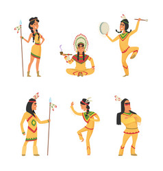 native american indians cartoon characters set in vector image