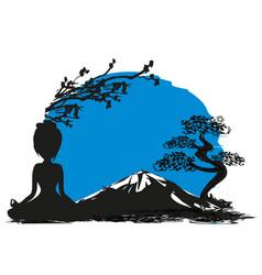 yoga on mountain vector image